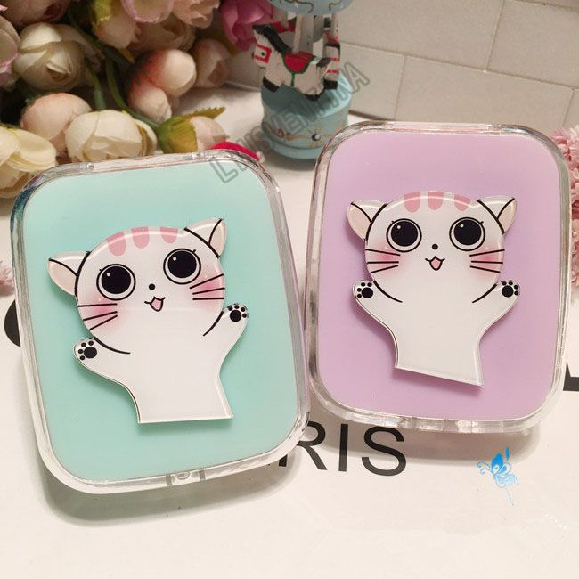 LIUSVENTINA DIY acrylic  cute cat wave contact lens case for glasses spectacle case for color lens