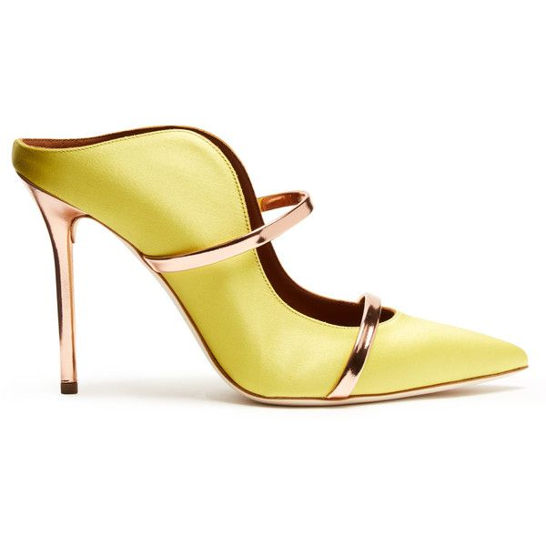 Malone Souliers Maureen satin mules ($442) ❤ liked on Polyvore featuring shoes, yellow multi, mule shoes, satin mules, malone souliers, satin shoes and yellow satin shoes