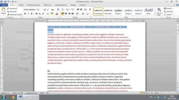 3 8 Hľadanie a Nahradzovanie Textu