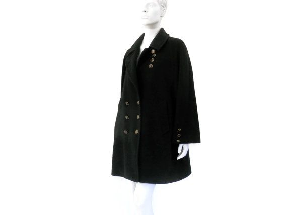 Retro Barbara Bui Black Wool Pea Coat Paris Label Vintage