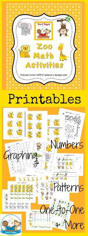 Printable Zoo Math Activities for #preschool and #kindergarten