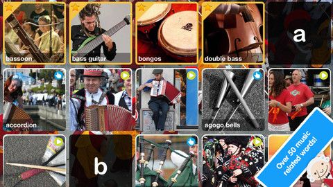 iPad app: ABC Music Explore a world of pianos, violins, maracas & more through beautiful pictures, lively videos, and interactive scenes. (Parents will learn new instruments, too! A nose flute??!)