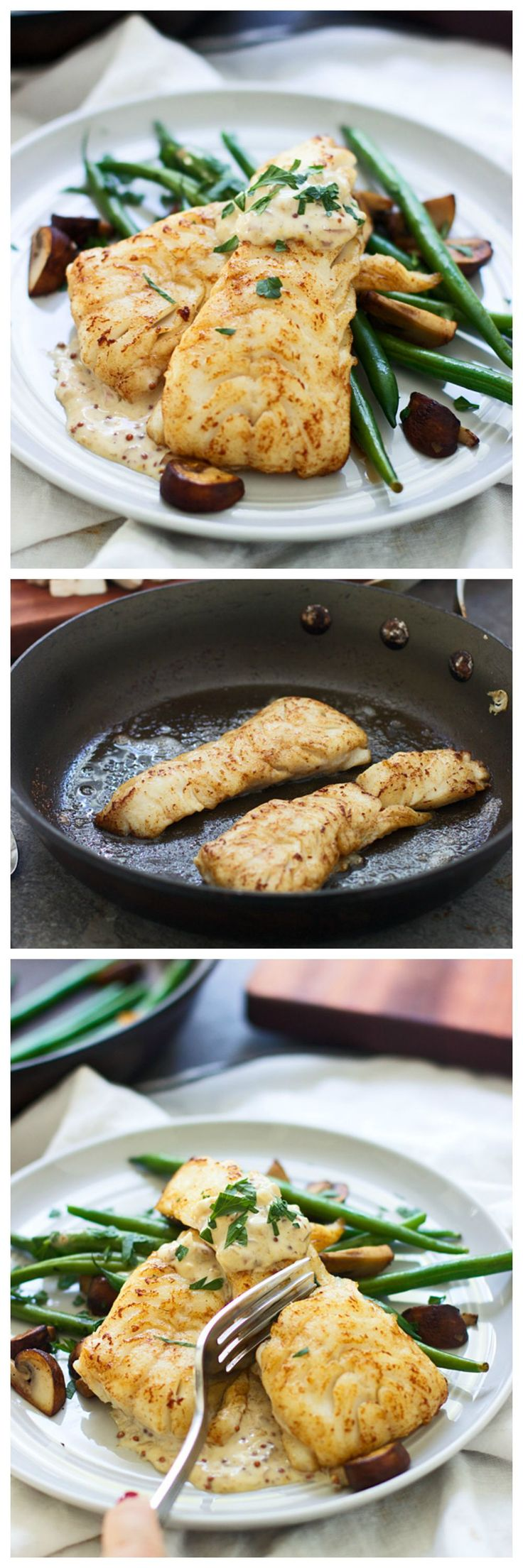 Brown Butter Seared Haddock with Mustard Cream Sauce - I promise, this will be your new favorite seafood dish! Super easy, minimal ingredients and comes together in under 30 minutes.