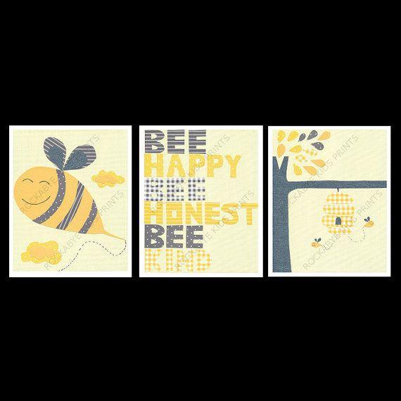 Bumble Bee Nursery Art Print Set, 8x10, kids room, yellow, grey on Etsy, $30.00 AUD