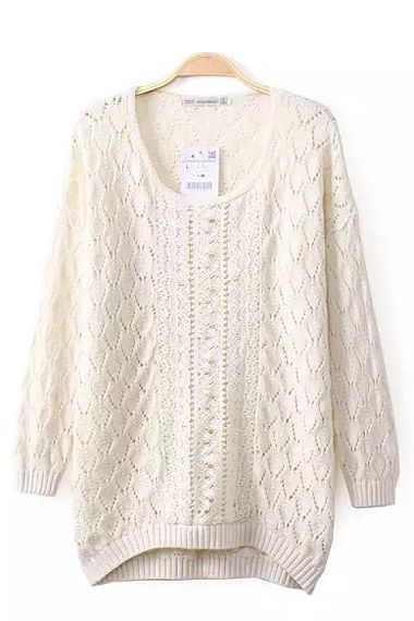 White O-neck Long Sleeves Loose Sweater