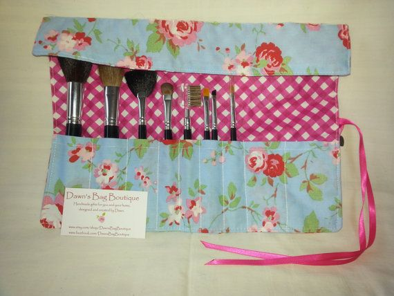 Make up brush roll with flap makeup brush roll by DawnsBagBoutique