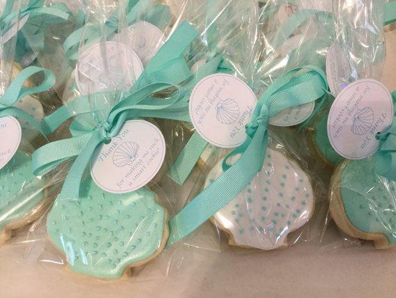 Turquoise Mermaid Seashell Cookies