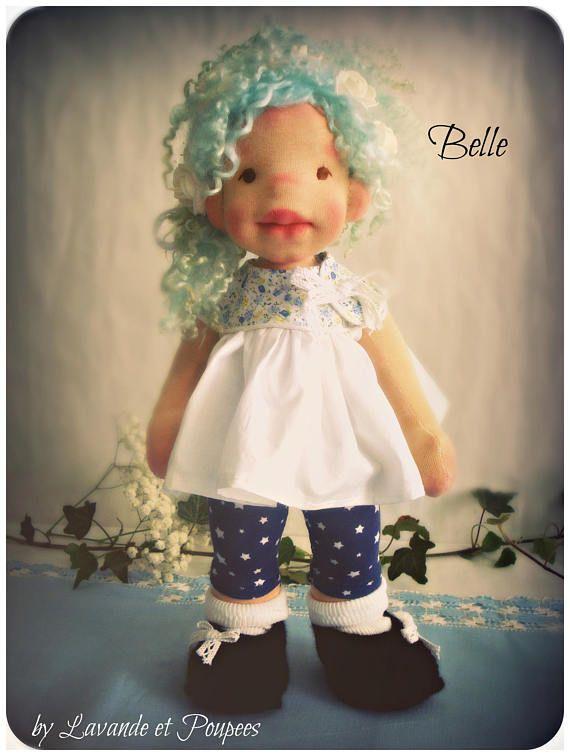 "Waldorf Doll, Belle 16""Doll, OOAK Doll, handmade doll by Lavande et Poupees, WaldorfInspiredDoll, NaturalFiberArtDoll"