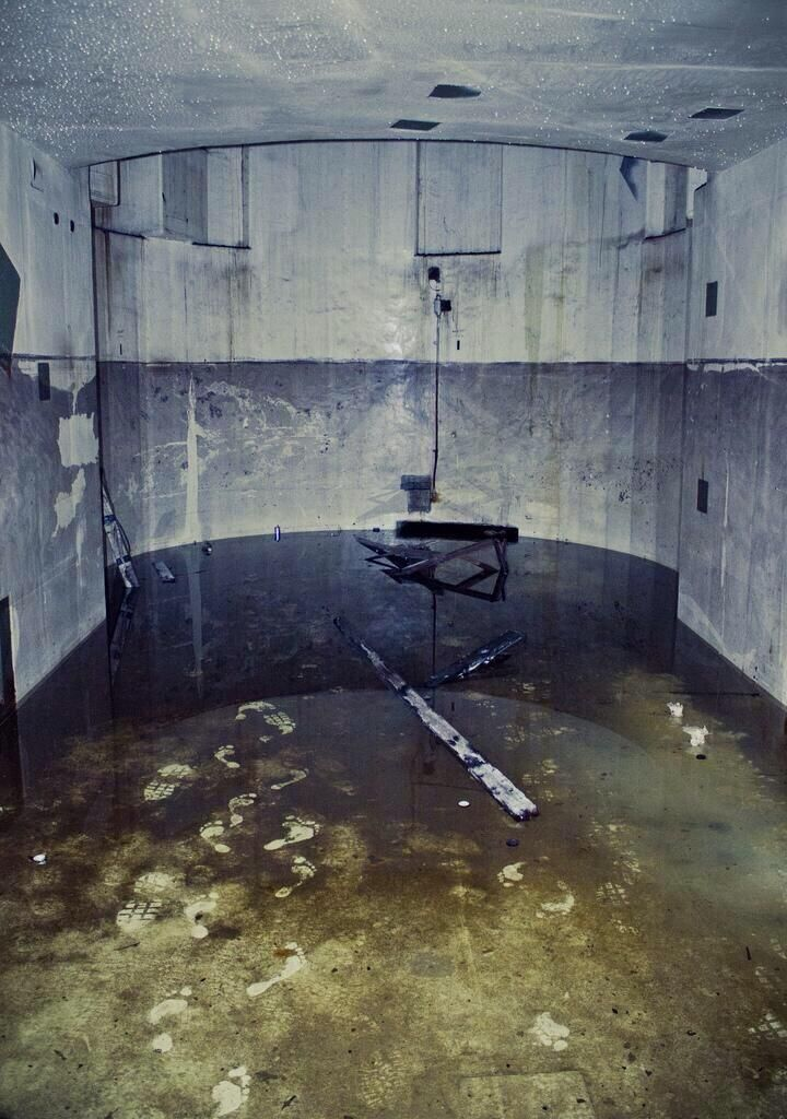 footprints in an abandoned nuclear reactor