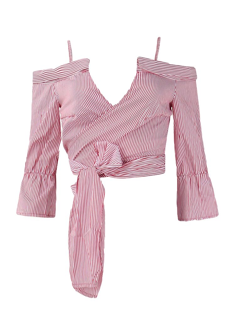 Pink White Striped Bell Sleeve Wrap Tops With Straps_Clubwear Tops_Clubwear Clothing_Sexy Lingeire   Cheap Plus Size Lingerie At Wholesale Price   Feelovely.com