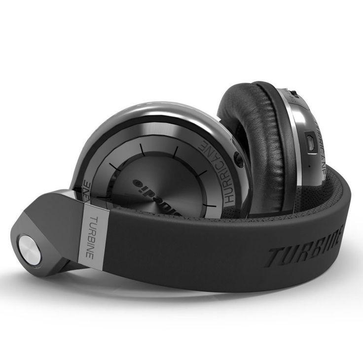 Bluedio Turbine T2s Wireless Bluetooth Headphones with Mic, 57mm Drivers/Rotary Folding (Black)