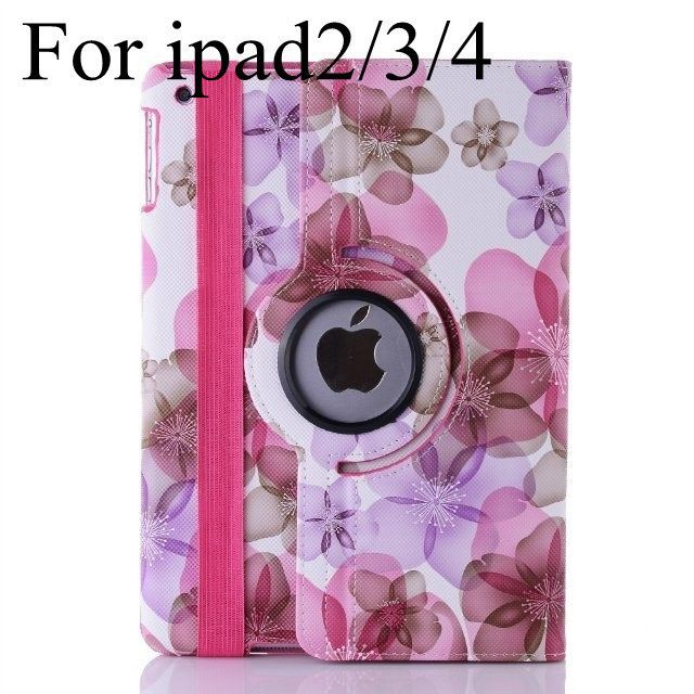 new arrival hot sell fashion flower girl's 360 rotate Pu leather case for apple ipad2/3 ipad4 ipad Air ipad 5 tablet cover case