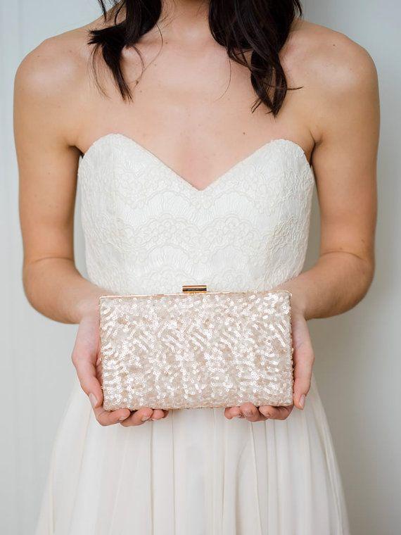 Blush Box Clutch  Bridal Clutch  Sequin Clutch  by DavieandChiyo