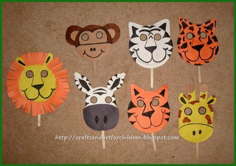 Handmade Animal Masks; paper plates construction paper - possible sunglasses!  #masks #sunglasses fun