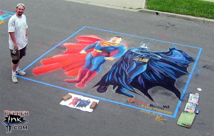 Superman Batman Street Chalk Art by pepperinkart.deviantart.com on @DeviantArt