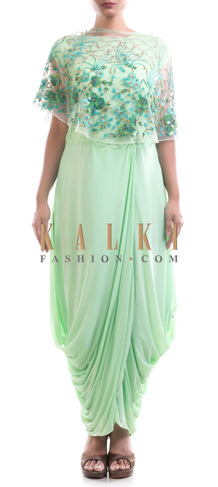 Buy Online from the link below. We ship worldwide (Free Shipping over US$100) Price- $269 Click Anywhere to Tag http://www.kalkifashion.com/pista-green-dhoti-draped-gown-with-cape.html