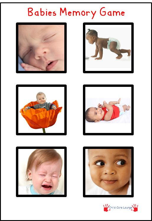 Free Printable Babies Memory Game. Print out twice. Cut out each picture and…