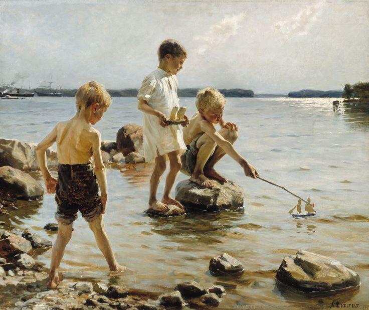 Niños jugando en la orilla,1884