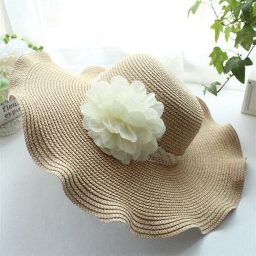 Women's Fashion Floral-Accent Straw Floppy Summer Hat 2 Colors