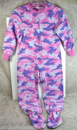 Girls Exhilaration Footed Pajamas Medium Colorful Camo Design Halloween Baby