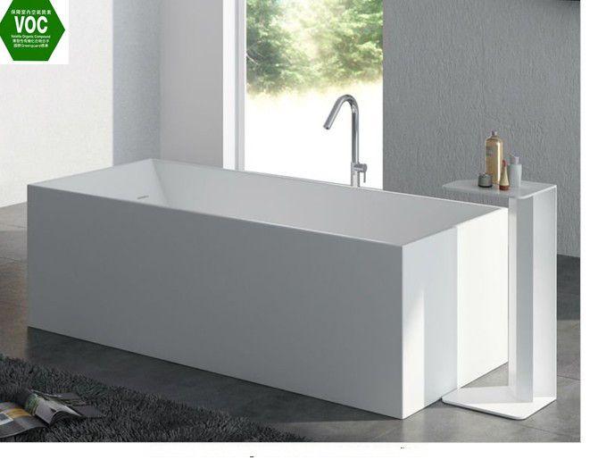 Freestanding Indoor Tub Rectangle Resin Bathtub Shower