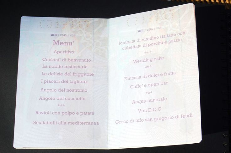 passport wedding menu - menu matrimonio passaporto (impronte sule nuvole)