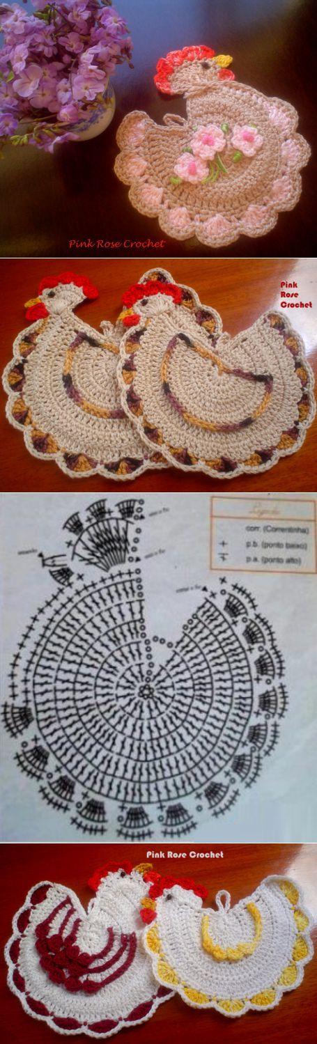 Decorative chicken crochet potholders. Ideas and scheme.