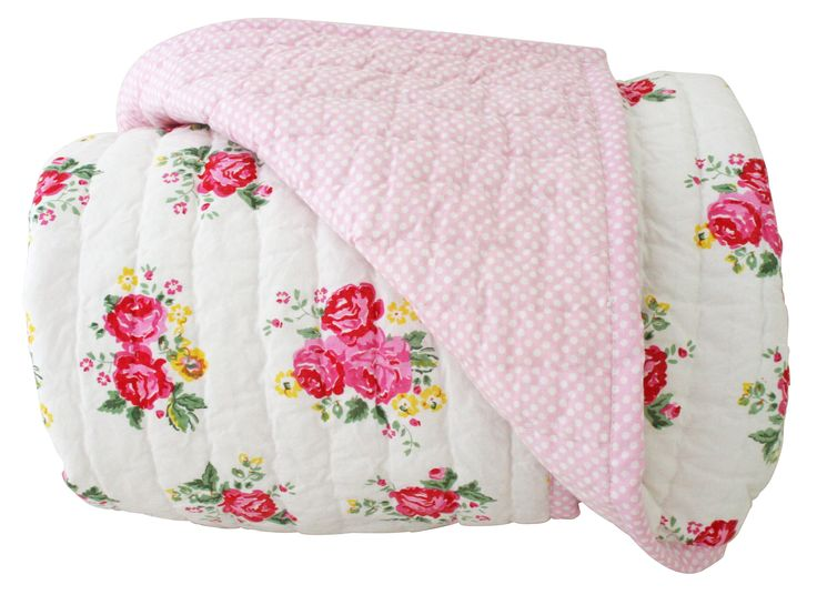 Alimrose Millie Reversible Cot Quilt - White Rose 100cm x 120cm - Gorgeous soft cotton cot quilt in pretty soft floral and pink spot.