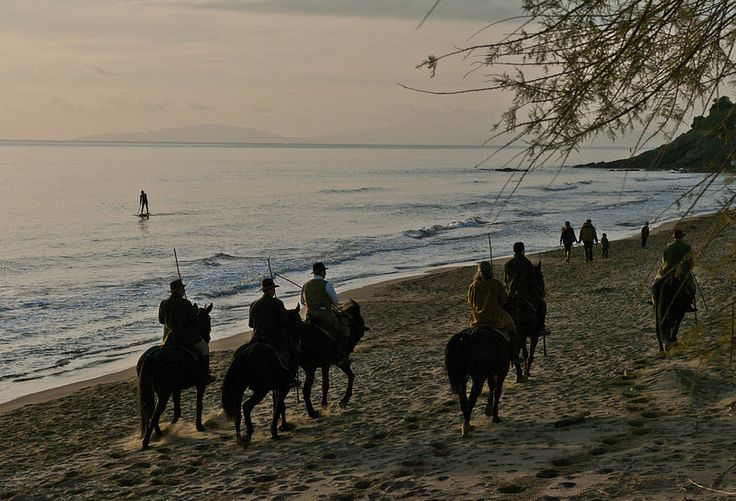 Maremma cowboys on the beach in Tuscany as the sun sets :)