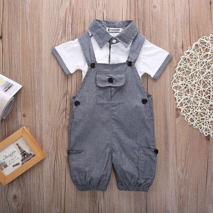 Baby Boys T shirt and Dungaree Shorts Formal Set   Baby boy