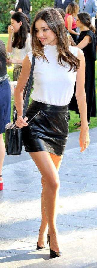 Miranda Kerr Style Black Leather Mini Skirt