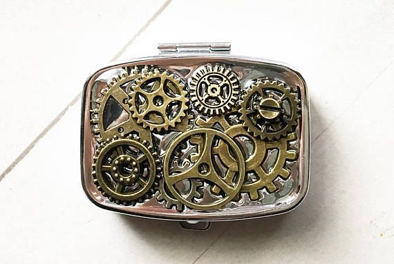 Steampunk Pillbox Steampunk Pill case Compact Mirror