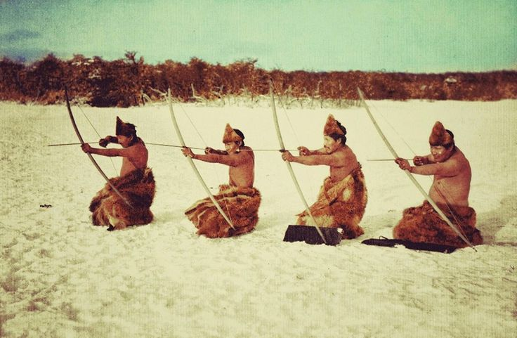 Selknam hunters, Tierra del Fuego 1923, photographed by Alberto de Agostini.
