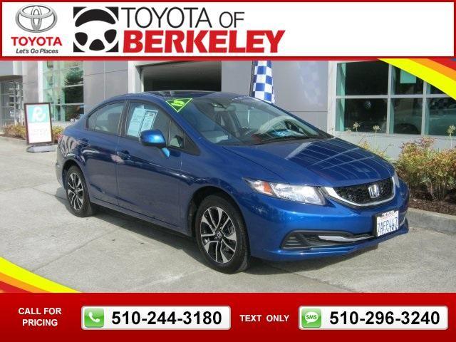 2013 Honda Civic EX Blue $15,990 23362 miles 510-244-3180 Transmission: Automatic  #Honda #Civic #used #cars #ToyotaofBerkeley #Berkeley #CA #tapcars