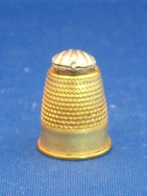 Goldtone Metal Thimble w Pewter Oyster Shell Topper w Faux Pearl Inside | eBay