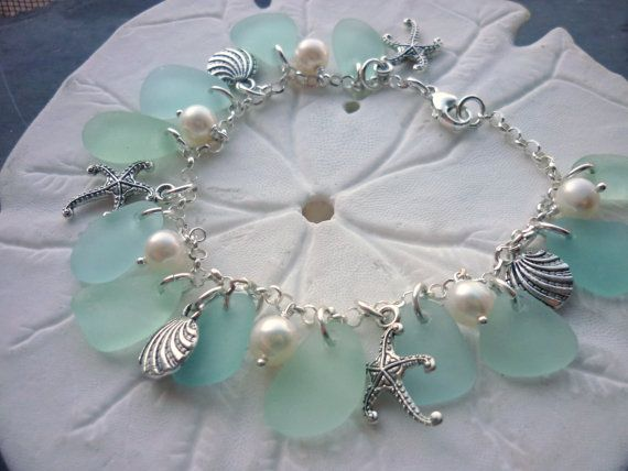 Sea Glass Charm Bracelet Blue Green Beach Jewelry Charm Bracelet Sterling TheMysticMermaid
