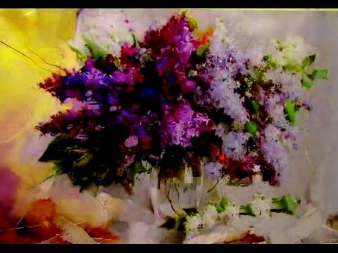 Amazing Easy flower paintings techniques! Your painting per hour! Paint lilac Oil painting tutorial - YouTube
