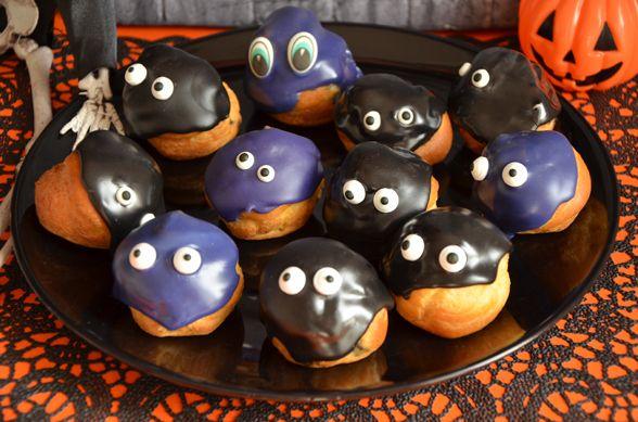 Halloween pastry / le gang des choux d'halloween, des petits choux à la crème pâtissière ultra vanillée