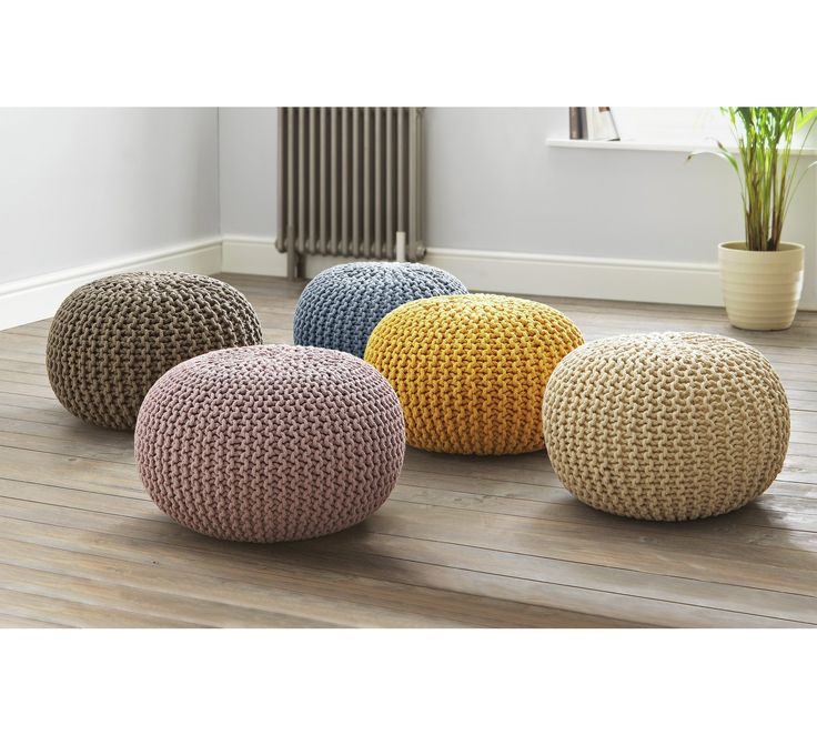 Buy Collection Cotton Knitted Pod Footstool - Charcoal at Argos.co.uk, visit Argos.co.uk to shop online for Footstools, Living room furniture, Home and garden