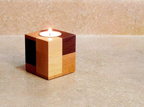 Portavelas de madera sostenedor de vela por CitiNightLights en Etsy