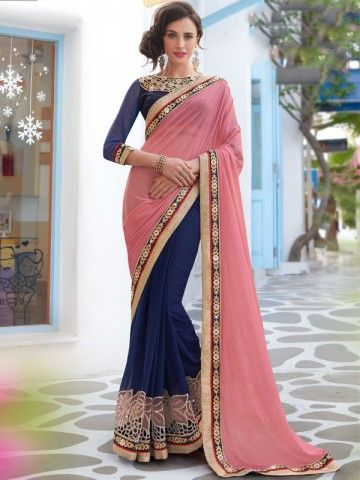 Tantalizing Pink And Navy Blue Colored Chiffon Designer Saree