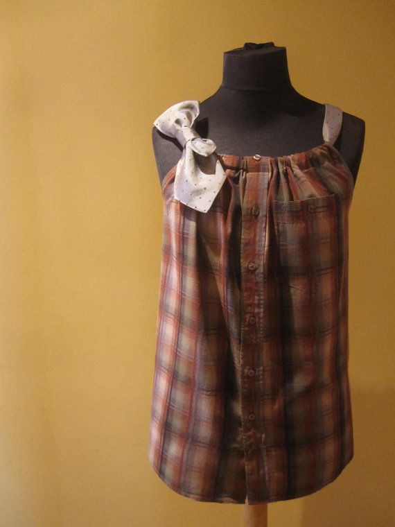 reconstructed flannel shirt with necktie straps... such a cute idea.