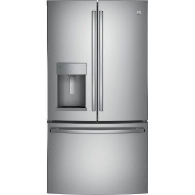 GE® 27.8 cu. ft. french-door refrigerator with Space-saving icemaker located on the door with integrated bins to create more usable storage space. Featuring TwinChill™ evaporators to separate climates in the fresh food and freezer sections to help keep food fresh, Turbo Cool and Turbo Freeze settings.