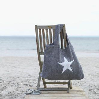 BYRH Beach Bag - Frottee Stern - Strandtasche Graphit - Strand - Sylt