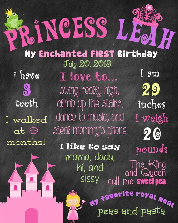 Printable Princess Theme Birthday Party Pack by ChalkingItUpBoards