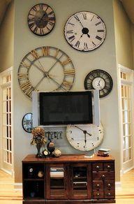 Decorating With Clocks Wall Of Clocks Big Clocks Huge Clock Flatscreen Time Zones Tv Walls