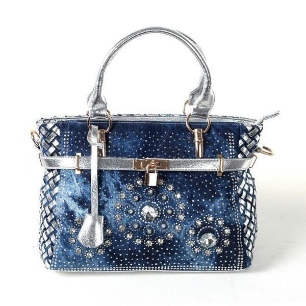 056626d7734b iPinee Summer womens handbag large oxford shoulder bags patchwork jean  style crystal decoration blue bag