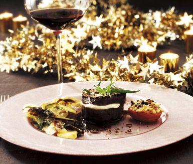 Mozzarellafylld auberginetournedos