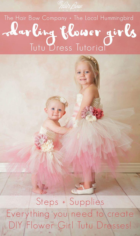 DIY Flower Girl Tulle Tutu Dress Tutorial. Step by step instructions to make a stunning Tulle Flower girl wedding dress