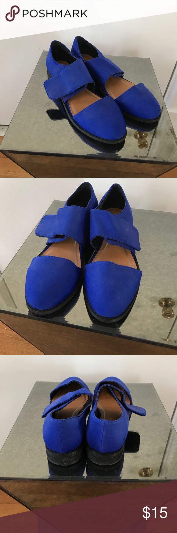 Deena & Ozzy cobalt blue d'orsay velcro flats 8 Gorgeous vibrant cobalt blue flats from deena & ozzy. Worn a couple times. They did get a little wrinkled in storage. Deena & Ozzy Shoes Flats & Loafers